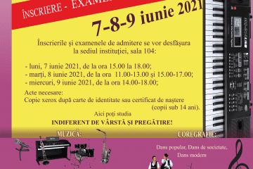 Înscriere și admitere pentru cursuri la Școala Populară de Arte Mureș, 2021